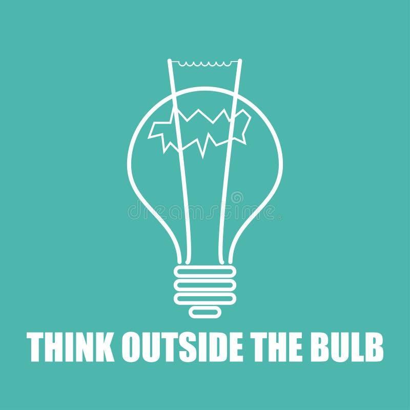 在平的设计的电灯泡之外认为 库存例证
