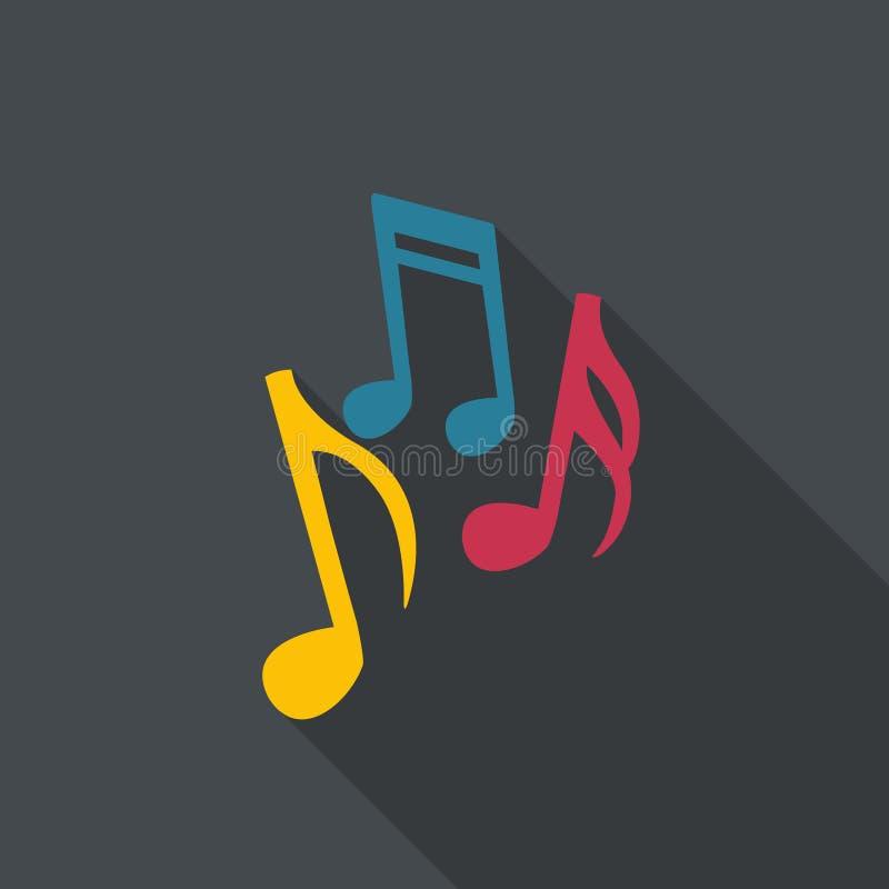 在平的设计的音乐笔记 库存照片