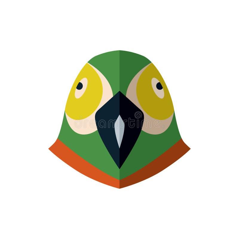 在平的设计的鹦鹉顶头象 库存例证