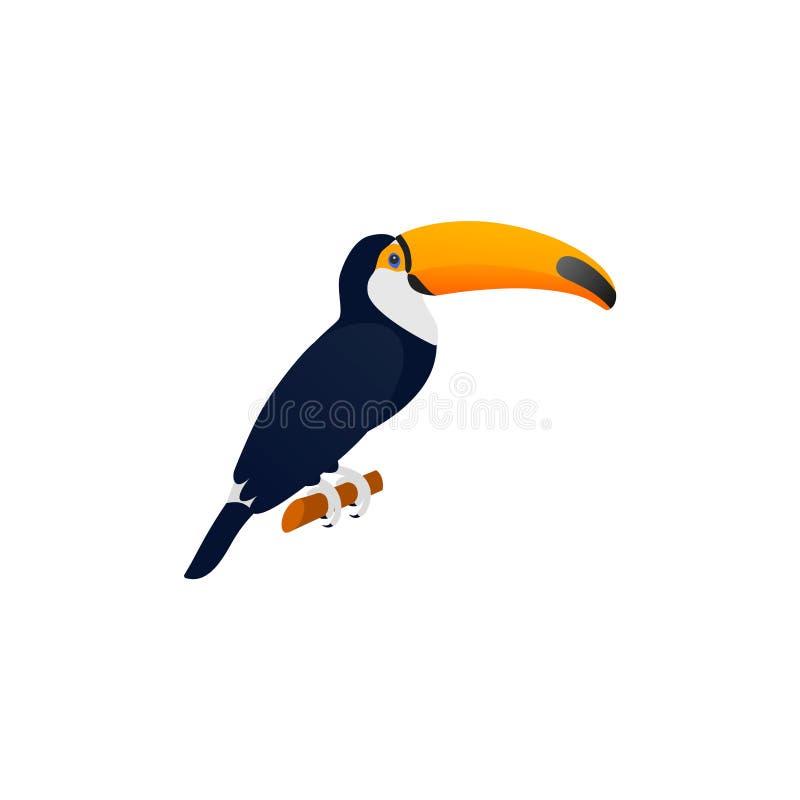 在平的设计的Toucan 也corel凹道例证向量 热带鸟 库存例证
