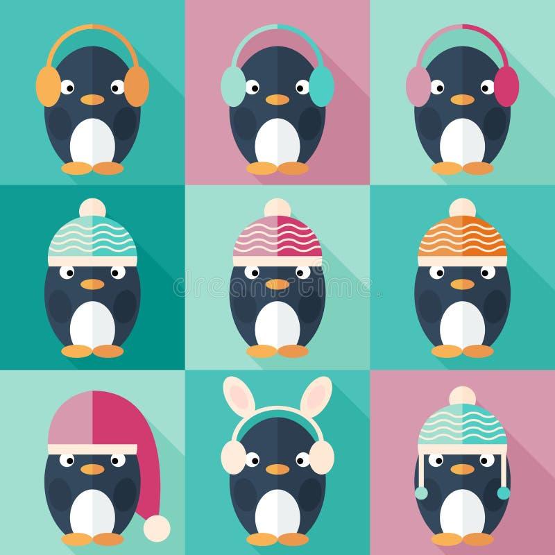 在平的设计设置的企鹅象 库存例证