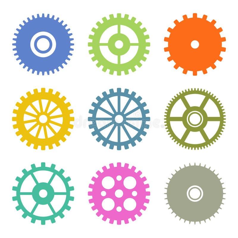 在平的设计颜色设置的齿轮象 向量 库存例证