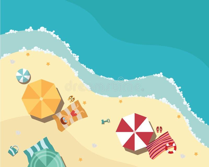 在平的设计,鸟瞰图,海边的夏天海滩 皇族释放例证