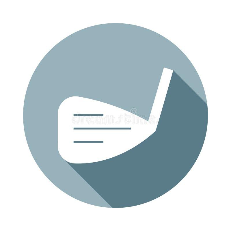 在平的长的阴影的高尔夫球clubicon 一网汇集象可以为UI/UX使用 向量例证