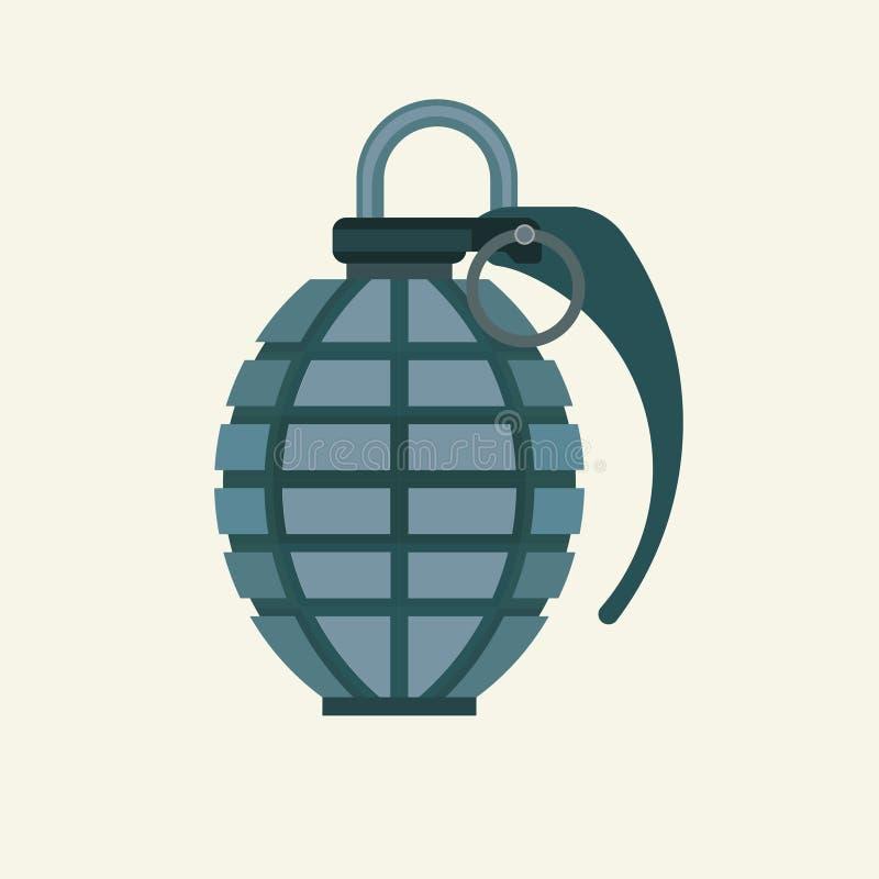 在平的颜色样式的手榴弹象 军事军队易爆的fragme 库存例证