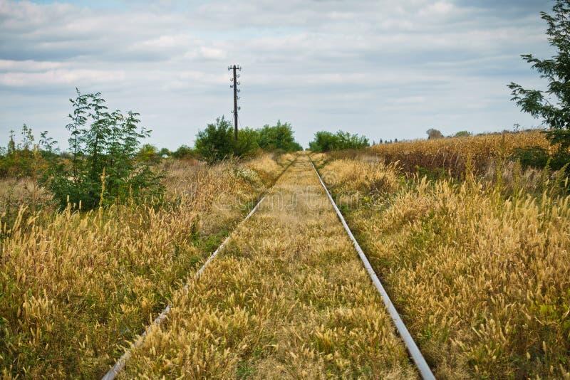 在平的prarie区域的铁轨 免版税库存图片
