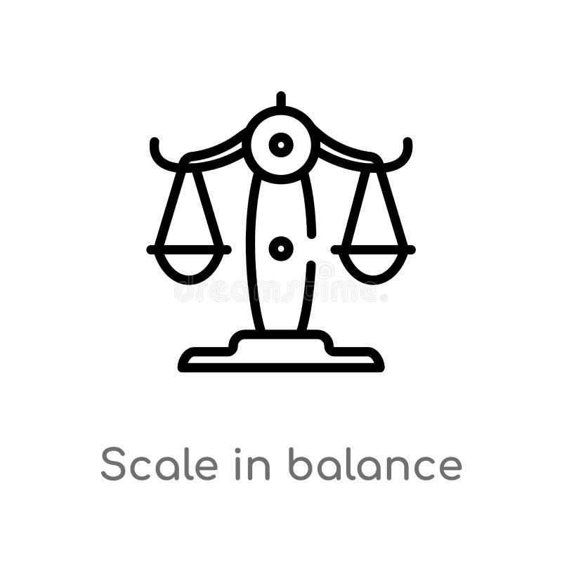 在平衡传染媒介象的概述标度 被隔绝的黑简单的从企业概念的线元例证 编辑可能的传染媒介 库存例证