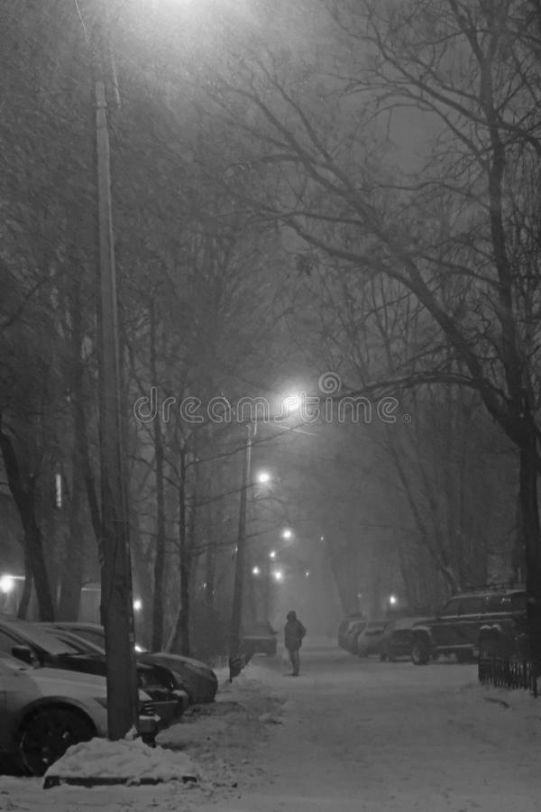 在平衡的城市街道上的黑白飞雪 免版税库存图片