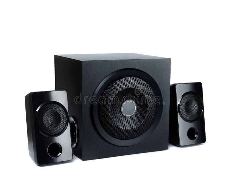 在平面木身体的音响报告人与超低音扬声器 免版税库存图片