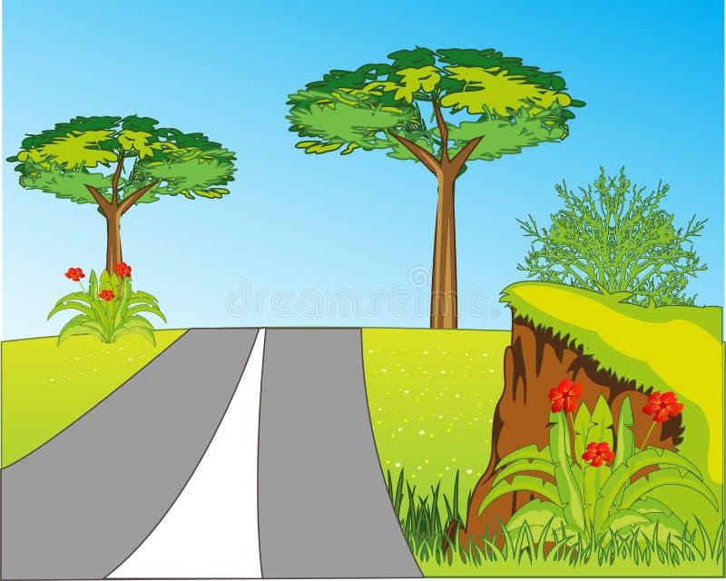 在年沼地的路在美好的自然中 向量例证