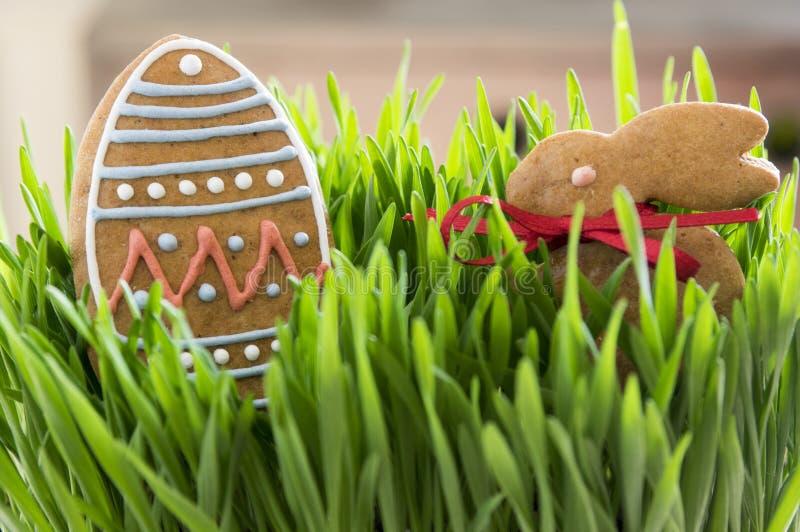 在年轻绿色五谷草的复活节姜饼 免版税库存照片