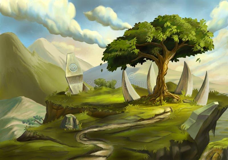 在幻想风景的神圣的树 库存例证