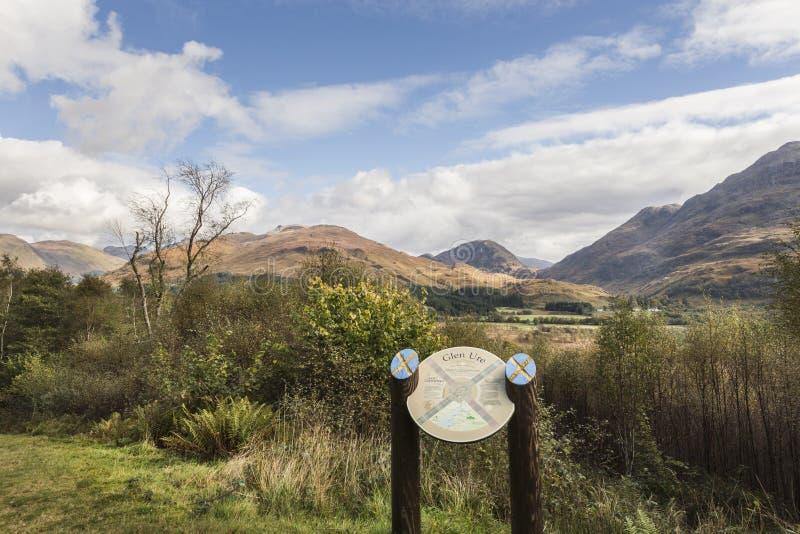 在幽谷Ure的看法在西部Argyll,苏格兰 免版税库存图片