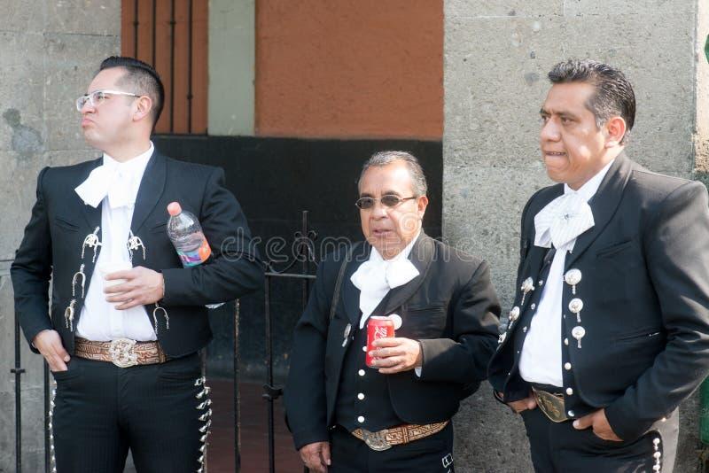 在广场加里波第的墨西哥流浪乐队在墨西哥城 库存图片