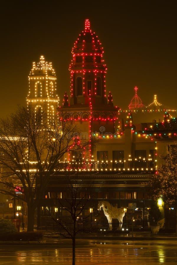 在广场的圣诞灯 免版税图库摄影
