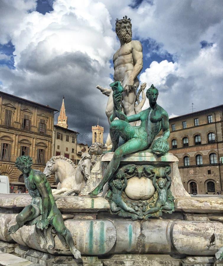 在广场della Signoria的著名喷泉海王星在佛罗伦萨,意大利 库存照片