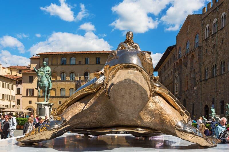 在广场della Signoria的画展在佛罗伦萨 库存照片