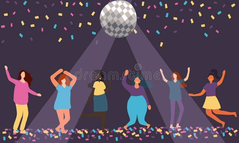 在庆祝党的颜色传染媒介平的与获得的女性角色的设计或与迪斯科球的事件乐趣和舞蹈 向量例证