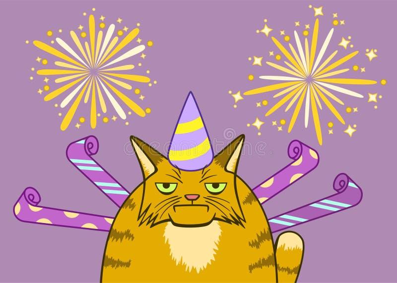 在庆祝的动画片阴沉的猫 皇族释放例证