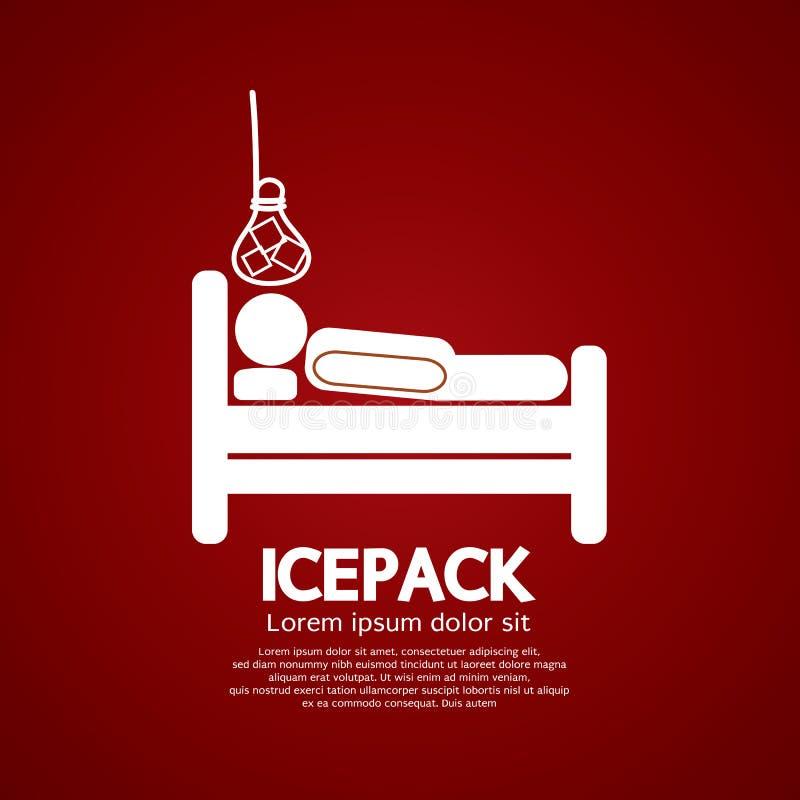 在床上的患者与冰袋 向量例证