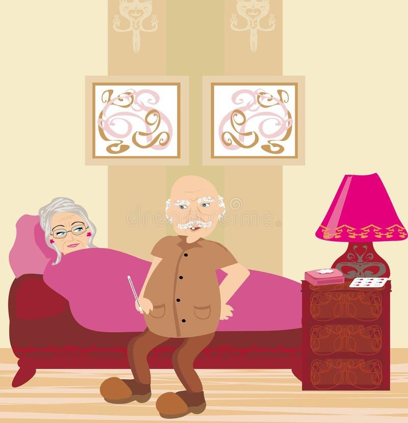在床上的年长病的妇女 皇族释放例证