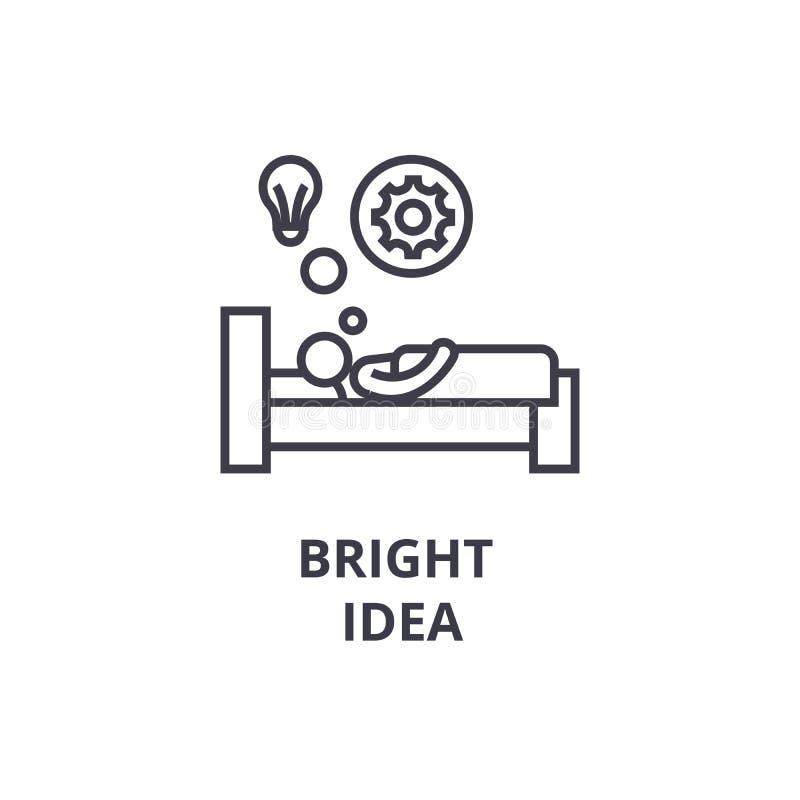在床稀薄的线象,标志,标志, illustation,线性概念,传染媒介的明亮的想法 向量例证