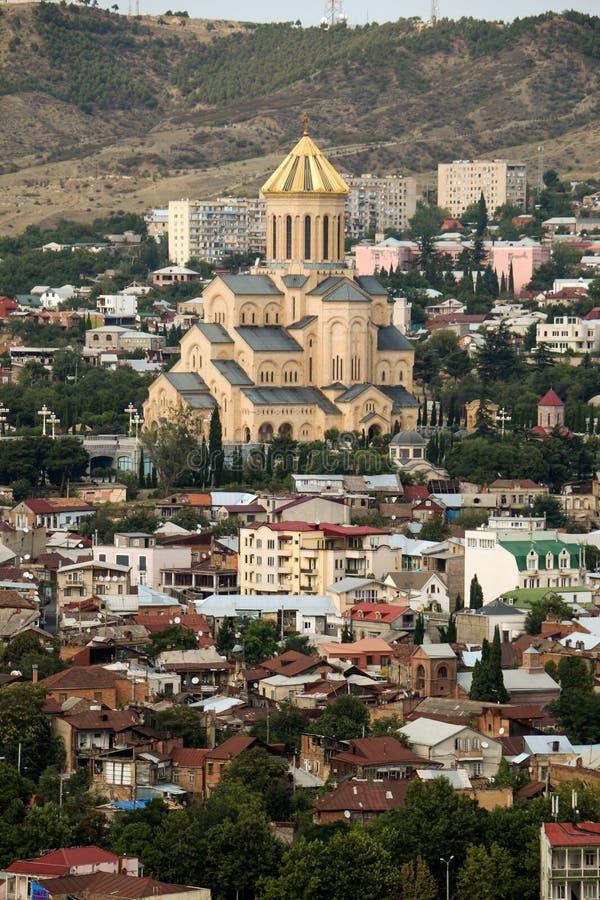 在库那河上的Metekhi教会在第比利斯 免版税图库摄影