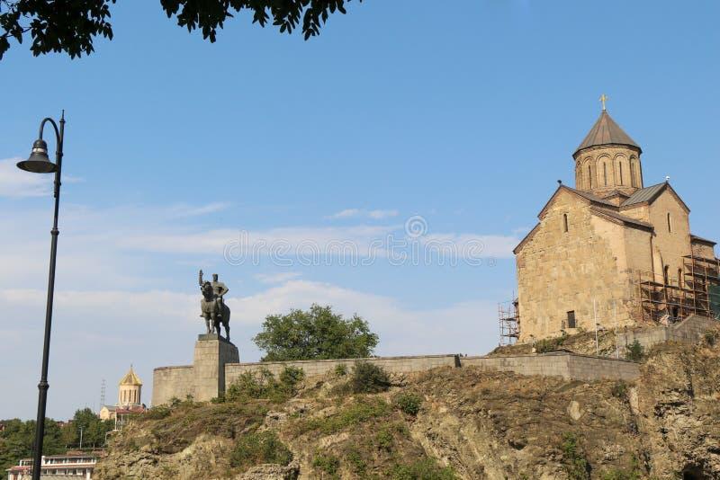 在库那河上的Metekhi教会在第比利斯 免版税库存图片