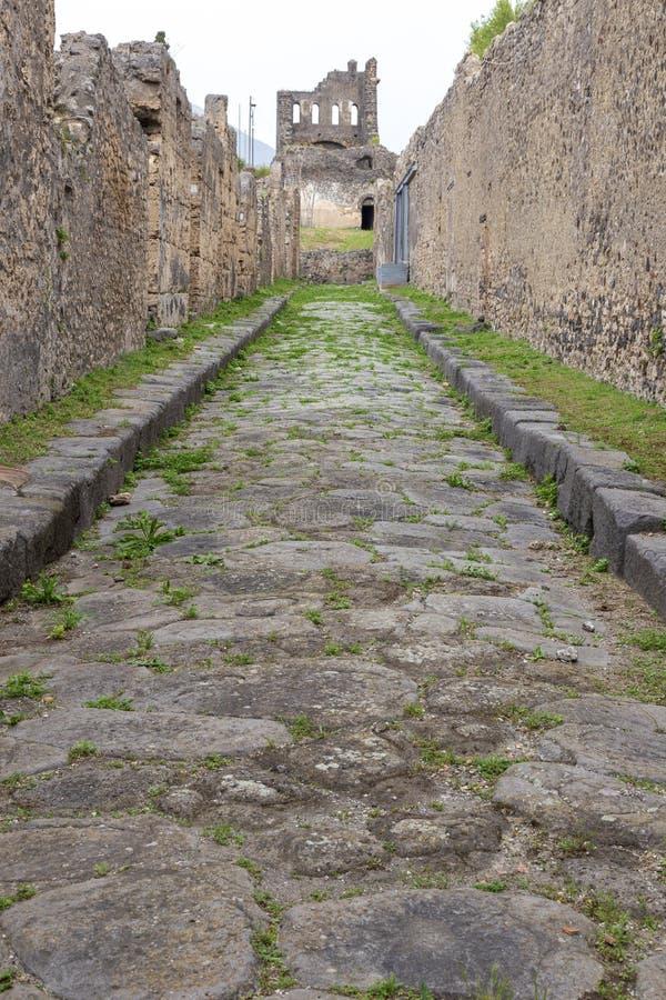 在庞贝城,意大利古色古香的罗马的被铺的街道  免版税图库摄影