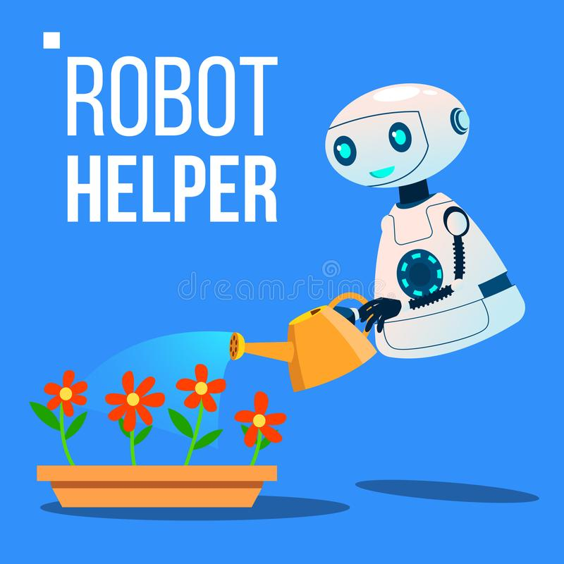 在庭院传染媒介的机器人帮手浇灌的花 按钮查出的现有量例证推进s启动妇女 库存例证