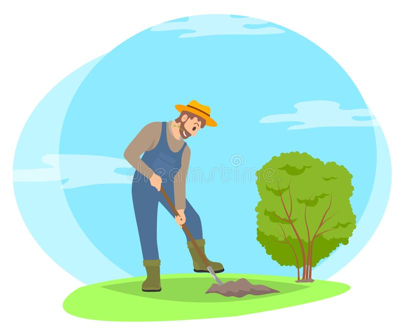 在庭院动画片象的农夫开掘的地面 向量例证