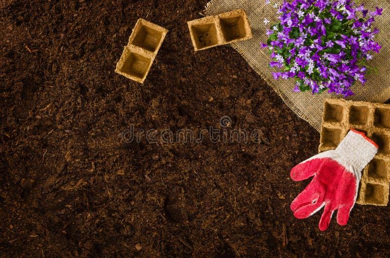 在庭院土壤的园艺工具构造背景顶视图 免版税图库摄影