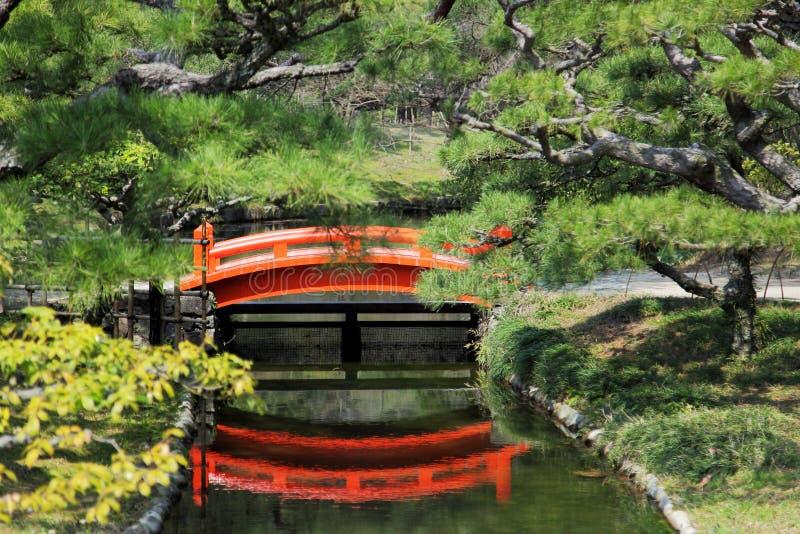 在庭院小河的红色桥梁  库存图片
