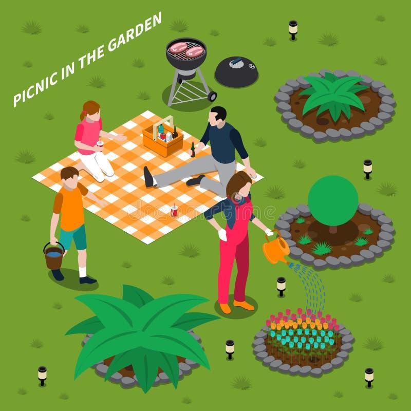 在庭院等量设计观念的野餐 皇族释放例证