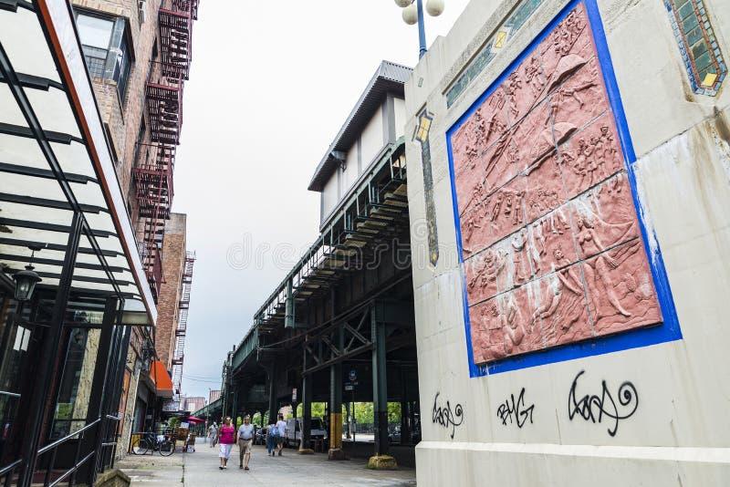 在康尼岛海滩,纽约,美国的纽约地铁 免版税库存照片