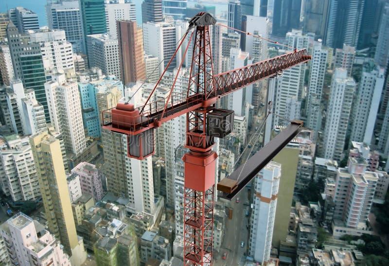 在建筑用起重机之上 图库摄影