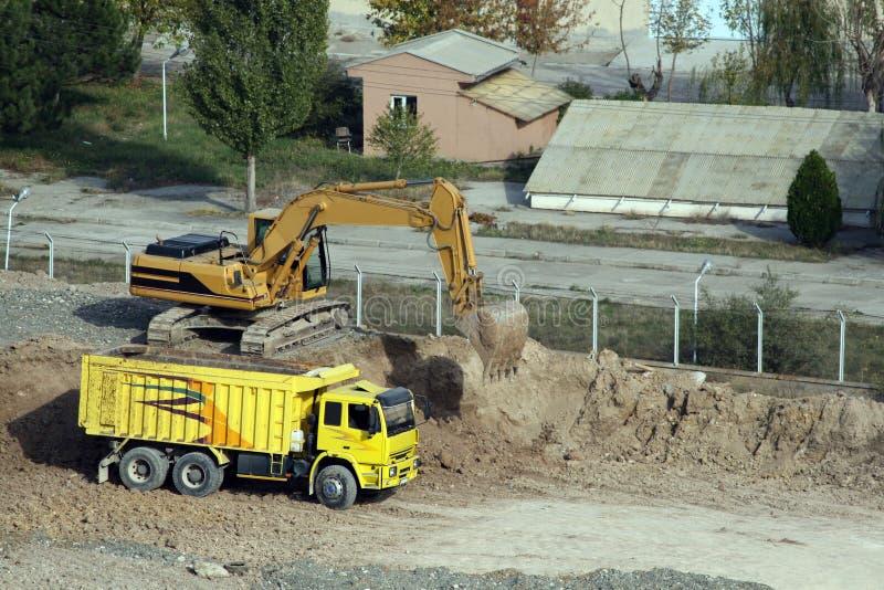 在建筑的挖掘工作期间在安卡拉 库存图片