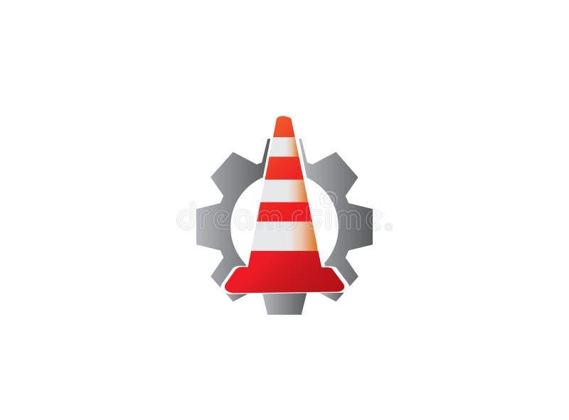 在建设中信号警告的交通锥体在商标设计的齿轮鸟翼末端里面 库存例证