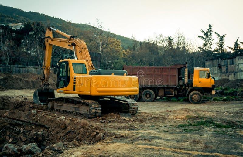 在建造场所的工业机械 免版税图库摄影