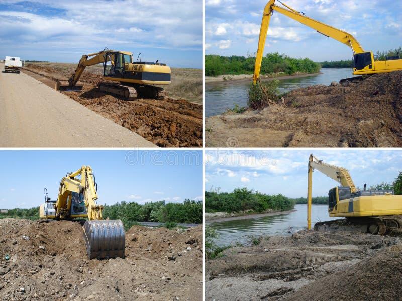 在建造场所的挖掘机 库存照片