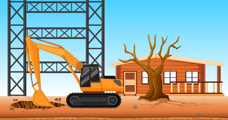 在建造场所的推土机开掘的孔 皇族释放例证