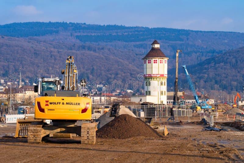 在建造场所的看法在新的Heidelberg's住宅区Bahnstadt 免版税库存照片