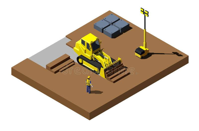 在建造场所的黄色推土机 现代等量建筑车例证 向量例证