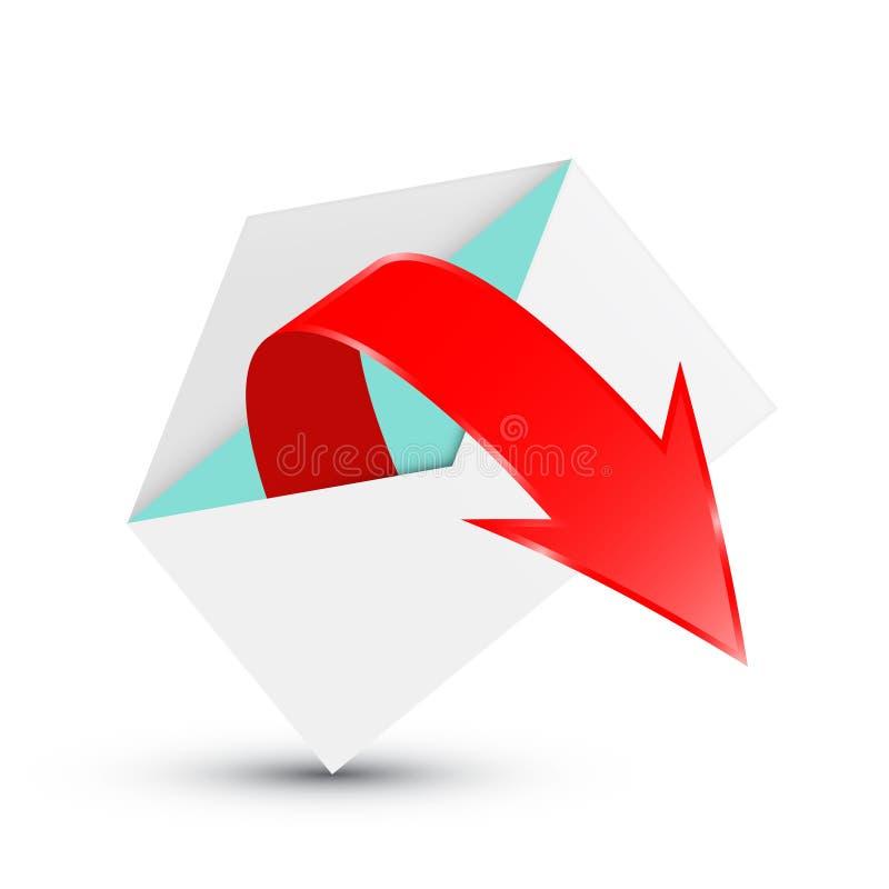在开放信封的红色箭头 向量例证