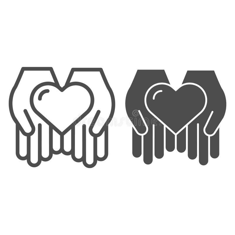 在开放手钓丝和纵的沟纹象的心脏 在胳膊在白色隔绝的传染媒介例证的爱 帮助概述样式设计 库存例证