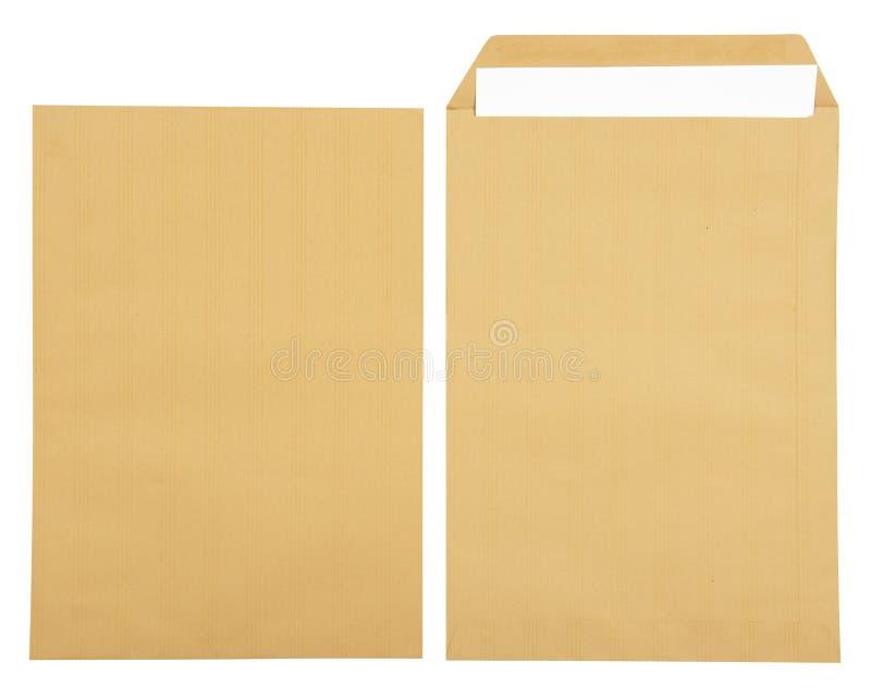 在开放棕色信封的白皮书 库存照片