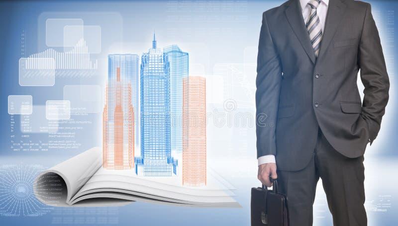 在开放的商人和导线框架大厦倒空 库存图片