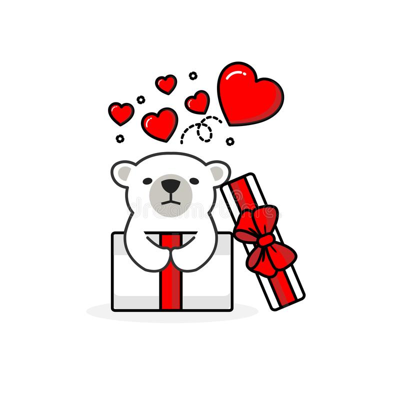 在开放礼物盒里面的愉快的北极熊有飞行心脏的 r 皇族释放例证