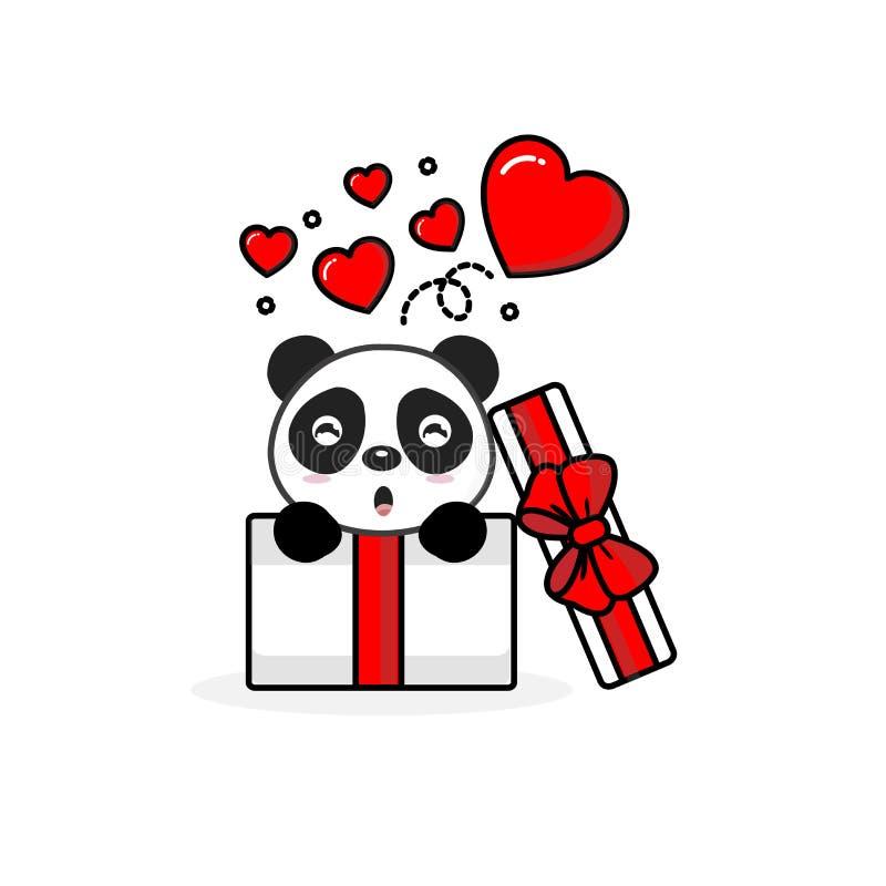 在开放礼物盒里面的愉快的熊猫有飞行心脏的 r 库存例证