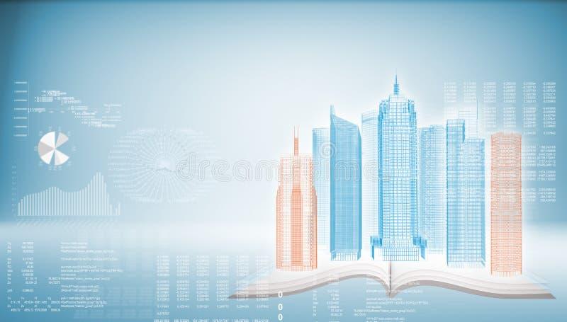 在开放空的书的发光的导线框架大厦 向量例证